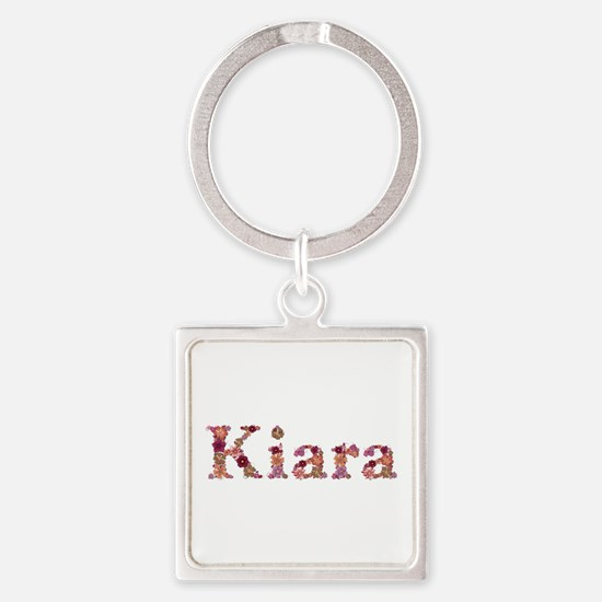 Kiara Pink Flowers Square Keychain