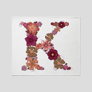 K Pink Flowers Throw Blanket