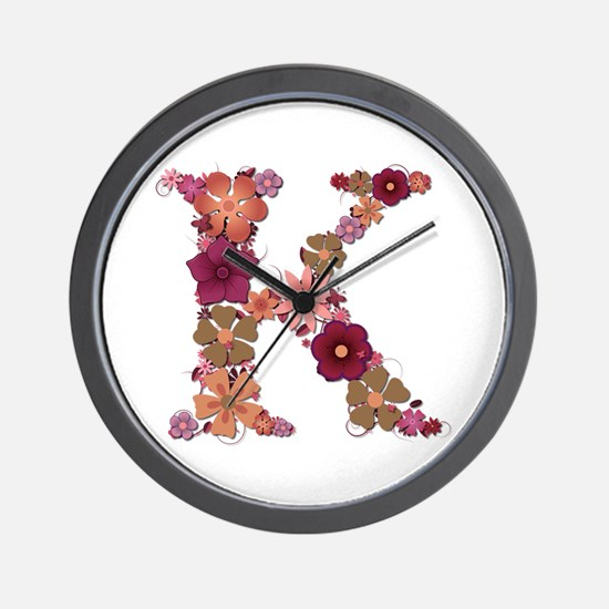 K Pink Flowers Wall Clock