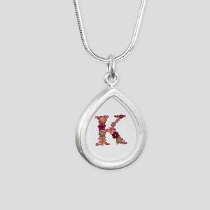 K Pink Flowers Silver Teardrop Necklace
