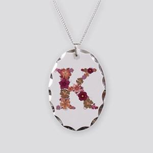 K Pink Flowers Oval Necklace
