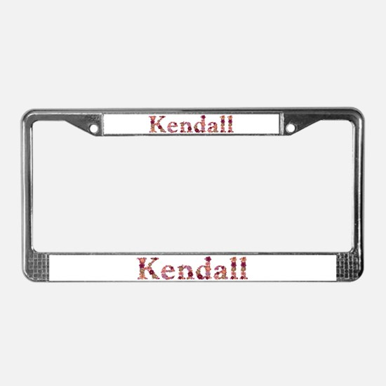 Kendall Pink Flowers License Plate Frame