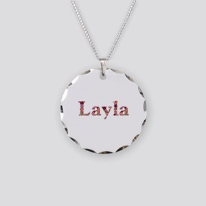 Layla Pink Flowers Necklace Circle Charm