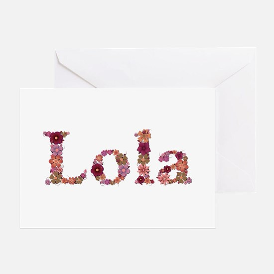 Lola Pink Flowers Greeting Card