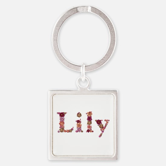 Lily Pink Flowers Square Keychain