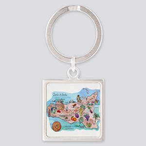 Map Of Sicily Keychains