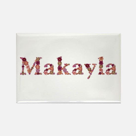 Makayla Pink Flowers Rectangle Magnet