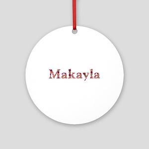 Makayla Pink Flowers Round Ornament