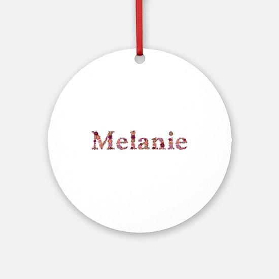 Melanie Pink Flowers Round Ornament