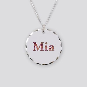 Mia Pink Flowers Necklace Circle Charm
