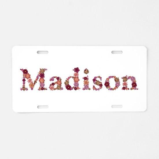 Madison Pink Flowers Aluminum License Plate