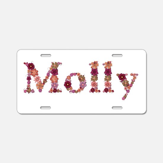 Molly Pink Flowers Aluminum License Plate