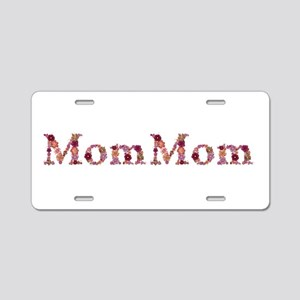 Mommom Pink Flowers Aluminum License Plate