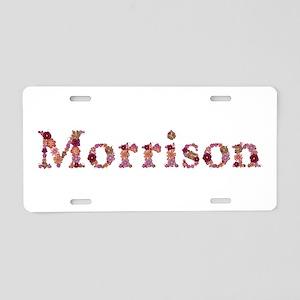Morrison Pink Flowers Aluminum License Plate