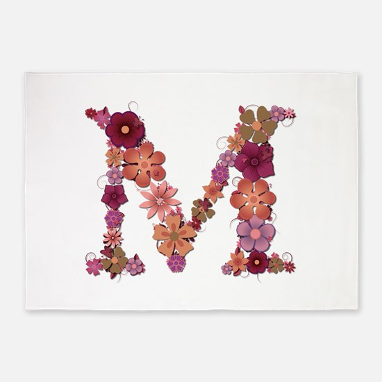 M Pink Flowers 5'x7' Area Rug