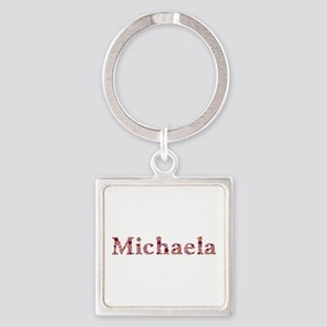 Michaela Pink Flowers Square Keychain