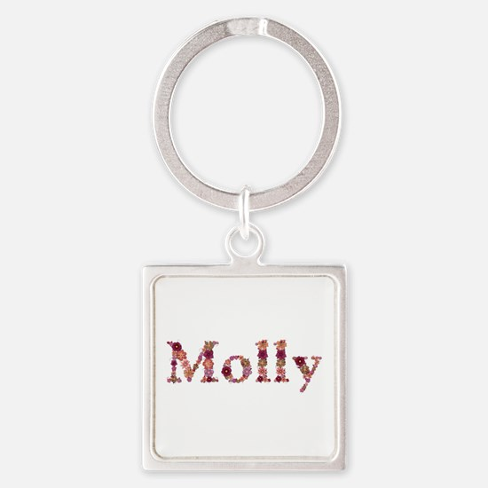 Molly Pink Flowers Square Keychain