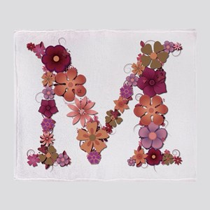 M Pink Flowers Throw Blanket