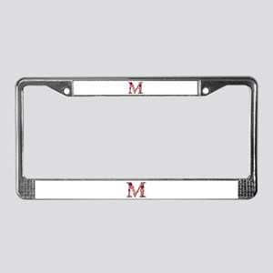 M Pink Flowers License Plate Frame