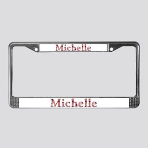 Michelle Pink Flowers License Plate Frame