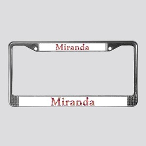 Miranda Pink Flowers License Plate Frame