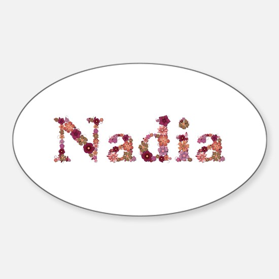 Nadia Pink Flowers Oval Decal