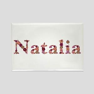 Natalia Pink Flowers Rectangle Magnet
