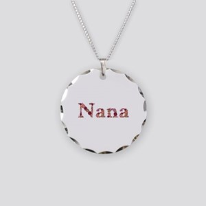 Nana Pink Flowers Necklace Circle Charm