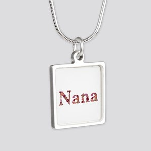 Nana Pink Flowers Silver Square Necklace