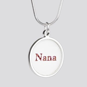 Nana Pink Flowers Silver Round Necklace
