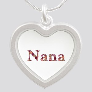 Nana Pink Flowers Silver Heart Necklace
