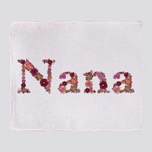 Nana Pink Flowers Throw Blanket