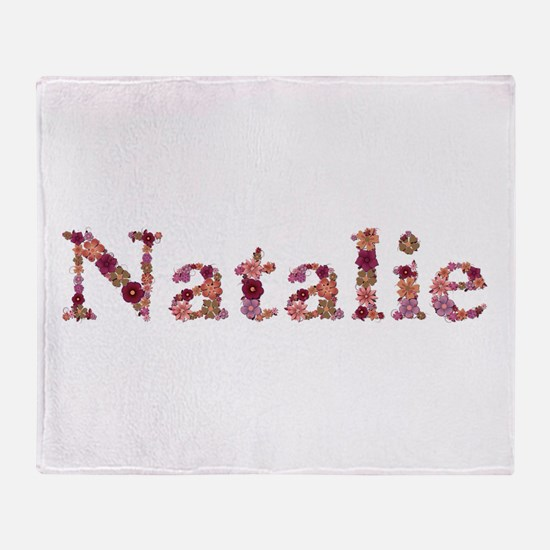 Natalie Pink Flowers Throw Blanket