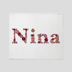 Nina Pink Flowers Throw Blanket