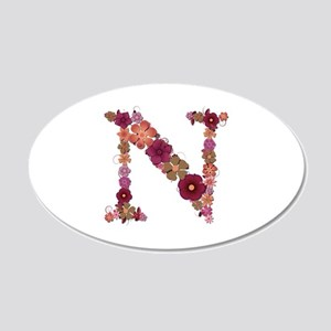 N Pink Flowers 20x12 Oval Wall Decal