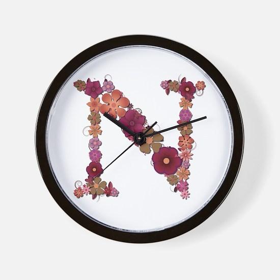 N Pink Flowers Wall Clock