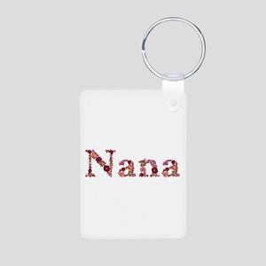 Nana Pink Flowers Aluminum Keychain