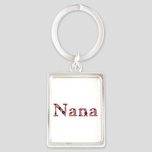 Nana Pink Flowers Portrait Keychain