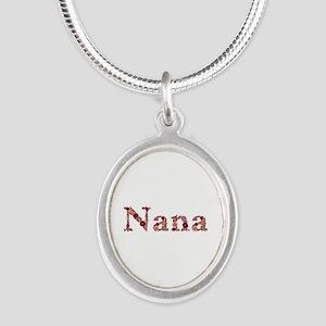 Nana Pink Flowers Silver Oval Necklace