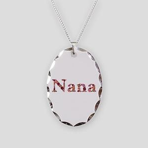 Nana Pink Flowers Oval Necklace