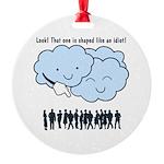 Cloud Mocks Human Shapes Funny Cartoon Round Ornam