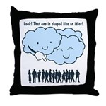 Cloud Mocks Human Shapes Funny Cartoon Throw Pillo