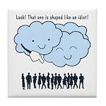 Cloud Mocks Human Shapes Funny Cartoon Tile Coaste