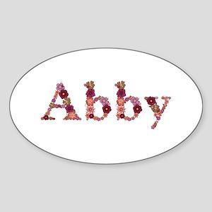Abby Pink Flowers Oval Sticker