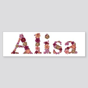 Alisa Pink Flowers Bumper Sticker