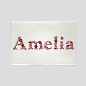 Amelia Pink Flowers Rectangle Magnet