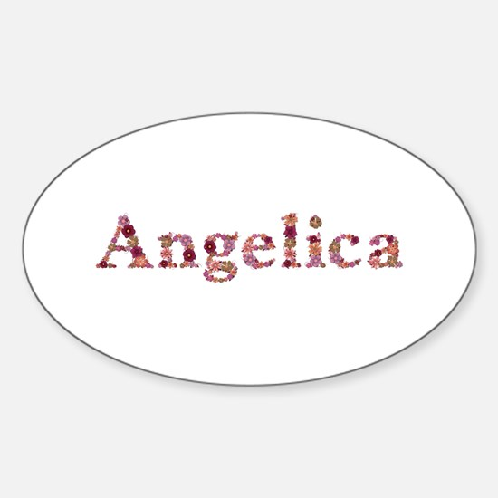 Angelica Pink Flowers Oval Decal