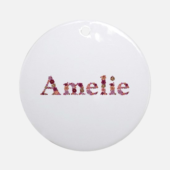 Amelie Pink Flowers Round Ornament