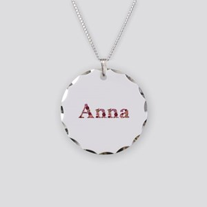 Anna Pink Flowers Necklace Circle Charm