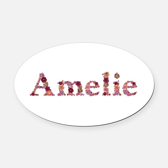 Amelie Pink Flowers Oval Car Magnet